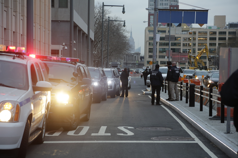 "The motorcade with Joaquin ""El Chapo"" Guzman arrives at Brooklyn Federal Court in New York on Jan. 20, 2017. (AP Photo/Mark Lennihan)"