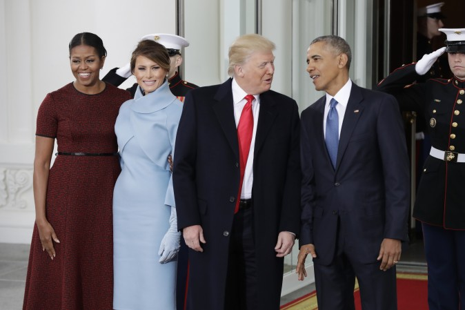 President Barack Obama and first lady Michelle Obama pose with President-elect Donald Trump and his wife Melania at the White House in Washington, Friday, Jan. 20, 2017. (AP Photo/Evan Vucci)
