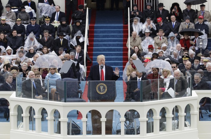 President Donald Trump delivers his inaugural address after being sworn in as the 45th president of the United States during the 58th Presidential Inauguration at the U.S. Capitol on Jan. 20, 2017. (AP Photo/Patrick Semansky)