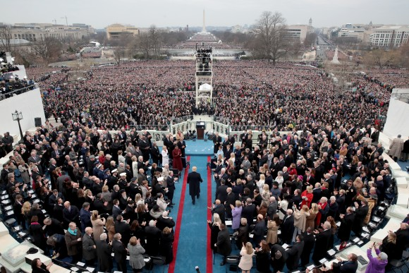 President Elect Donald Trump arrives on the West Front of the U.S. Capitol in Washington, DC on Jan. 20, 2017. In today's inauguration ceremony Donald J. Trump becomes the 45th president of the United States. (Scott Olson/Getty Images)
