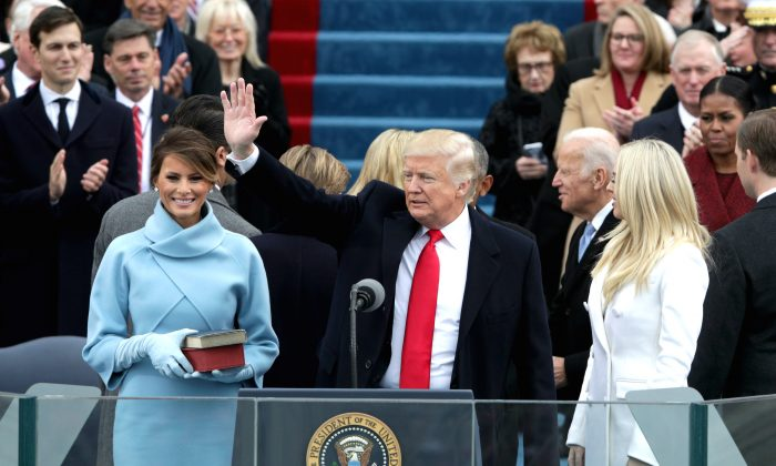 President Donald Trump waves after he is sworn into office on the West Front of the U.S. Capitol in Washington, DC on Jan. 20, 2017. In today's inauguration ceremony Donald J. Trump becomes the 45th president of the United States. (Alex Wong/Getty Images)