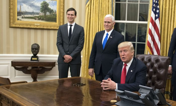 President Donald Trump speaks to the media before signing a confirmation for Defense Secretary James Mattis in the Oval Office at the White House in Washington, D.C., on Jan. 20, 2017. (Kevin Dietsch - Pool/Getty Images)