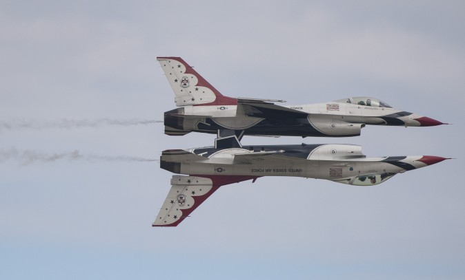 Two US Air Force F-16 Thunderbirds perform during the airshow at Joint Andrews Air Base in Maryland on Sept. 16. (ANDREW CABALLERO-REYNOLDS/AFP/Getty Images)