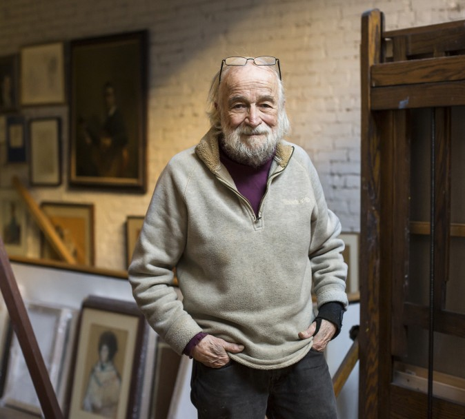 Burton Silverman in his studio at his home in the Upper West Side of Manhattan, New York on Dec. 20, 2016. (Samira Bouaou/Epoch Times)