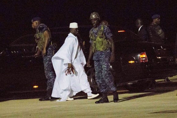 Gambia's defeated leader Yahya Jammeh departs at Banjul airport on Jan. 21, 2017. (AP Photo/Jerome Delay)
