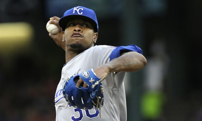 Kansas City Royals starting pitcher Yordano Ventura throws during the first inning of a baseball game against the Texas Rangers in Arlington, Texas, in this file photo. (AP Photo/LM Otero)