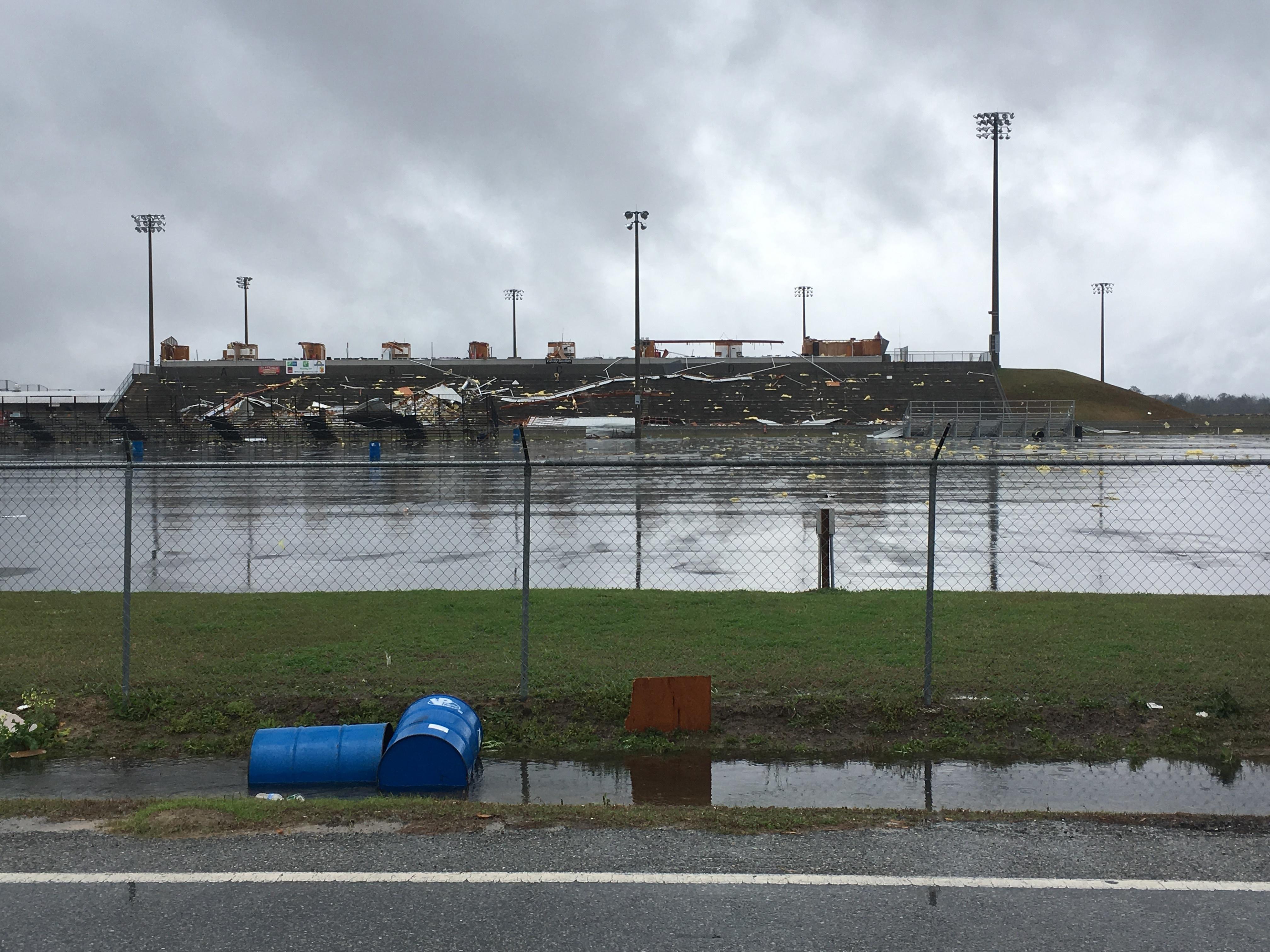 Storm damage is seen at South Georgia Motorsports Park in Cecil, Ga., on Jan. 22, 2017. (AP Photo/Brendan Farrington)