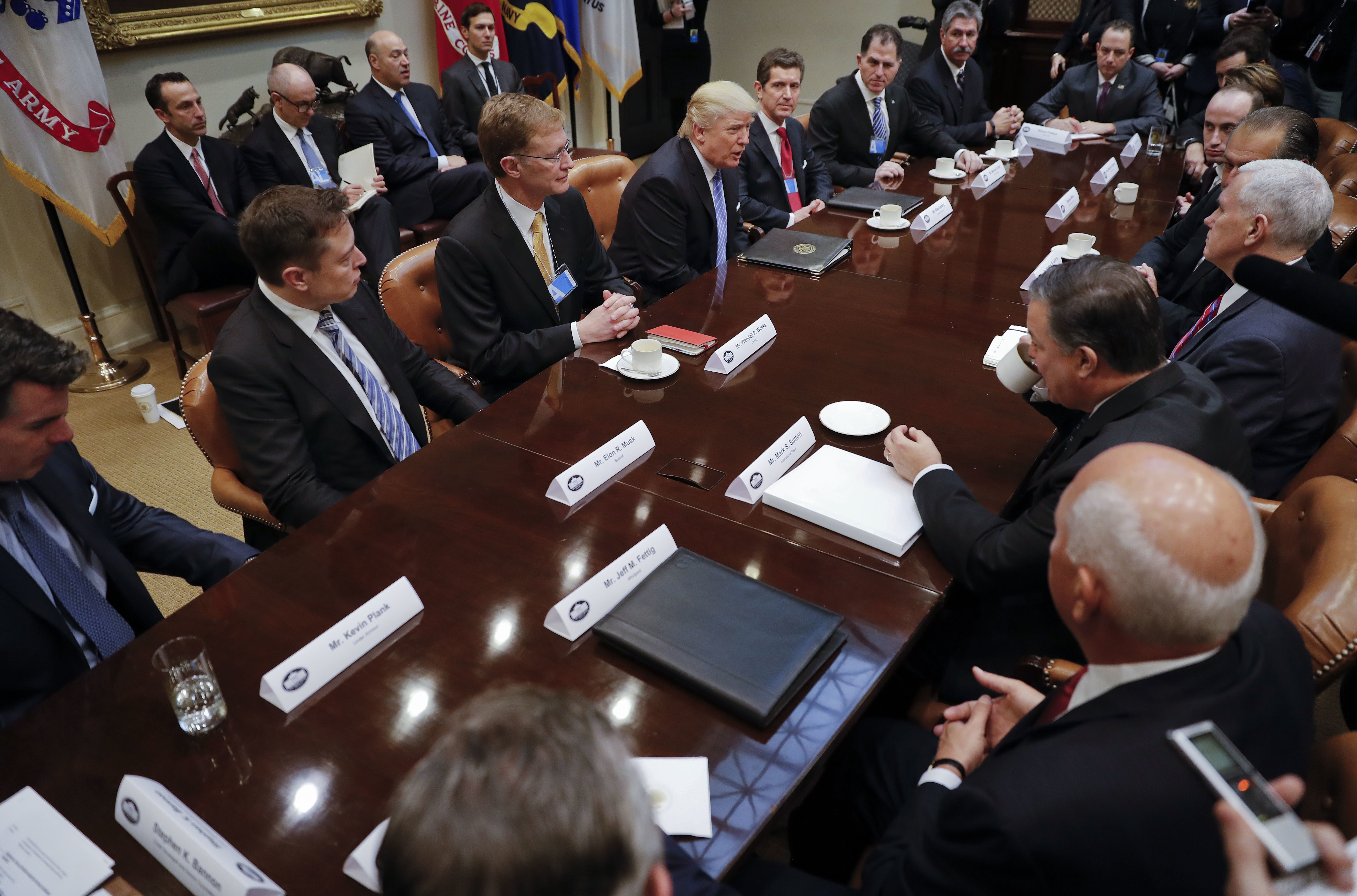 President Donald Trump hosts breakfast with business leaders in the Roosevelt Room of the White House in Washington on Jan. 23, 2017. (AP Photo/Pablo Martinez Monsivais)