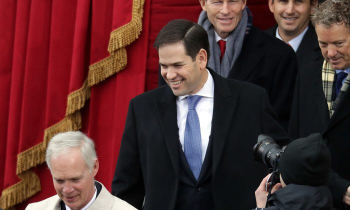 Sen. Marco Rubio (R-FL) (C) arrives on the West Front of the U.S. Capitol in Washington, DC. on Jan. 20, 2017. (Chip Somodevilla/Getty Images)
