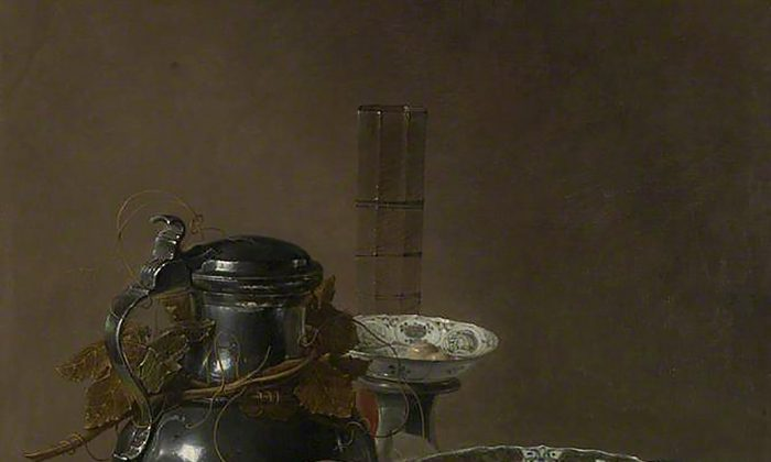 """Still Life with a Pewter Flagon and Two Ming Bowls,"" 1651, by Jan Jansz. Treck (circa 1606–1652). Oil on canvas, 30 by 25 inches. (The National Gallery, London)"