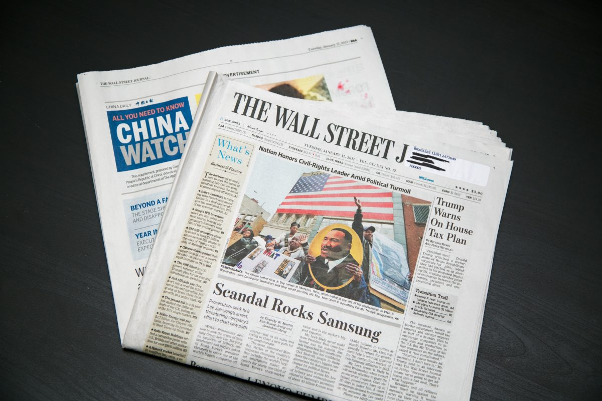 A paid insert of China Daily inside the Jan. 17, 2017 edition of the Wall Street Journal