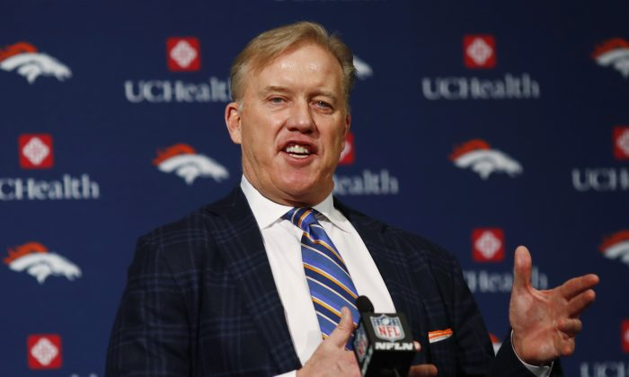 Denver Broncos general manager John Elway responds to questions after the introduction of Vance Joseph as the new head coach of the NFL football team during a news conference at the team's headquarters, in this file photo. (AP Photo/David Zalubowski)