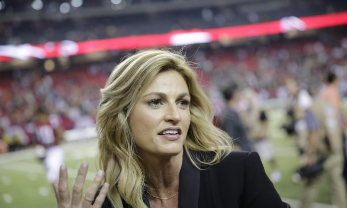 Fox Sports broadcaster Erin Andrews speaks with Atlanta Falcons wide receiver Julio Jones after the second of an NFL football game against the Green Bay Packers in Atlanta, in this file photo. (AP Photo/David Goldman, File)