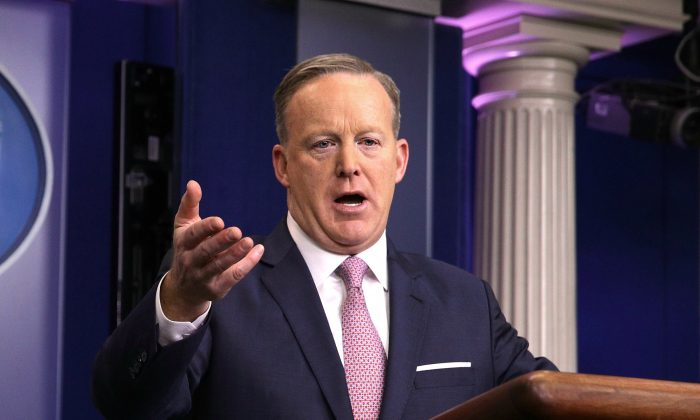 White House Press Secretary Sean Spicer speaks during a daily briefing at the James Brady Press Briefing Room of the White House in Washington, DC on Jan. 23, 2017. (Alex Wong/Getty Images)