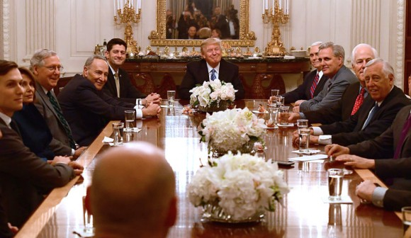 U.S. President Donald Trump (C) hosts a reception for House and Senate Republican and Democratic leaders in the State Dining Room of the White House in Washington, DC. on Jan. 23, 2017. (Ron Sachs-Pool/Getty Images)