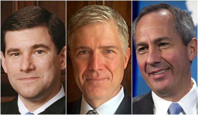 William H. Pryor; Judge Neil Gorsuch; Judge Thomas Hardiman. (Wikimedia; 10th U.S. Circuit Court of Appeals via AP;  AP Photo/Cliff Owen)