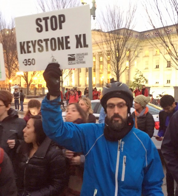 Hundreds of people gathered for an anti-pipeline protest outside the White House on Jan. 24, 2017, the day President Donald Trump signed executive orders that might lead to the construction of Keystone XL. (The Canadian Press/Alex Panetta)
