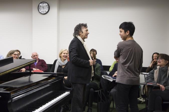 David Dubal during class at Juilliard School where he teaches in New York City on Jan. 24, 2017. (Samira Bouaou/Epoch Times)