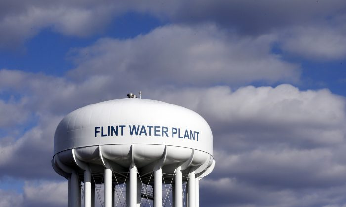 The Flint Water Plant water tower is seen in Flint, Michigan, on March 21, 2016. (Carlos Osorio, File/AP Photo)