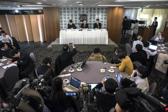 Former North Korean deputy ambassador to the UK, Thae Yong Ho (C) at the Seoul Foreign Correspondents Club in Seoul, South Korea on Jan. 25, 2017. (Ed Jones, Pool Photo via AP)