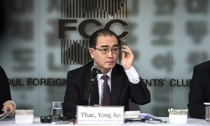 Former North Korean deputy ambassador to the UK, Thae Yong the Foreign Correspondents Club in Seoul, South Korea on Jan. 25, 2017. (Ed Jones, Pool Photo via AP)