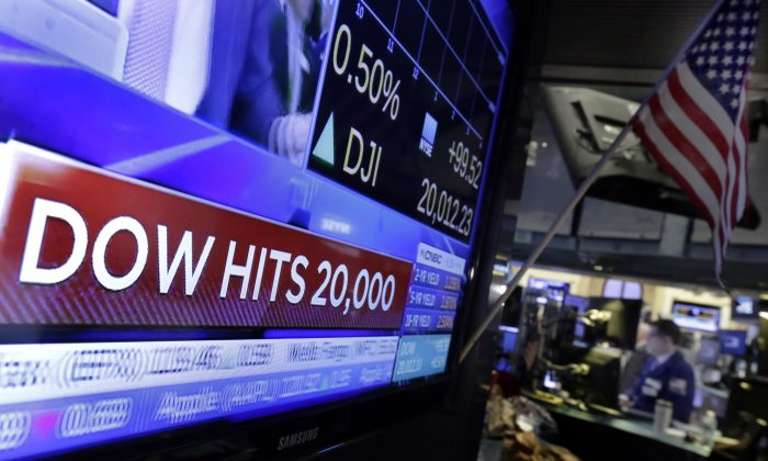 A television screen on the floor of the New York Stock Exchange headlines the Dow Jones industrial average, Wednesday, Jan. 25, 2017. (AP Photo/Richard Drew)