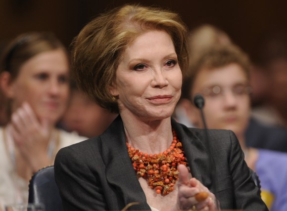 This June 24, 2009 file photo shows actress Mary Tyler Moore before the Senate Homeland Security and Governmental Affairs Committee hearing on Type 1 Diabetes Research on Capitol Hill in Washington. Moore died on Jan. 25, 2017, at age 80. (AP Photo/Susan Walsh, File)