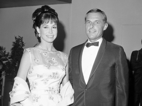 Actress Mary Tyler Moore and her husband Grant Tinker at the Emmy Awards in Los Angeles on May 22, 1966. (AP Photo/David Smith, File)