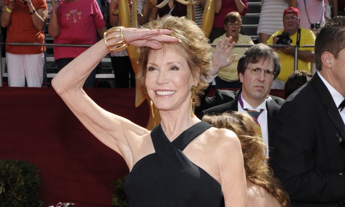 This Sept. 21, 2008 file photo shows Mary Tyler Moore at the 60th Primetime Emmy Awards in Los Angeles. Moore died on Jan. 25, 2017, at age 80. (AP Photo/Chris Pizzello, File)