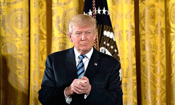 U.S. President Donald Trump during a swearing in ceremony of White House senior staff in the East Room of the White House in Washington, DC. on Jan. 22, 2017. (Andrew Harrer-Pool/Getty Images)
