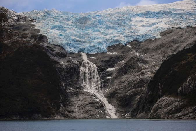 """The Romanche glacier to the northeast of the Beagle Channel, along the 230-km """"glaciers route"""" in the Magallanes y Antartica Chilena region in southern Chile, on April 21. (MARTIN BERNETTI/AFP/Getty Images)"""
