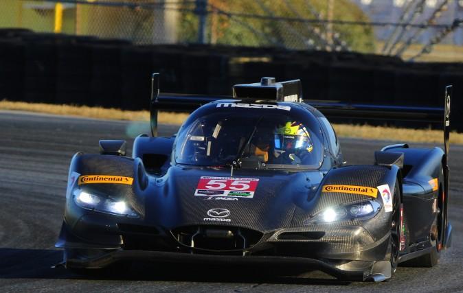 Tristan Nunez drives the new Mazda RT24-P at the IMSA WeatherTech SportsCar Championship December test at Daytona International Speedway, Dec. 13–14, 2016. (Chris Jasurek/Epoch Times)