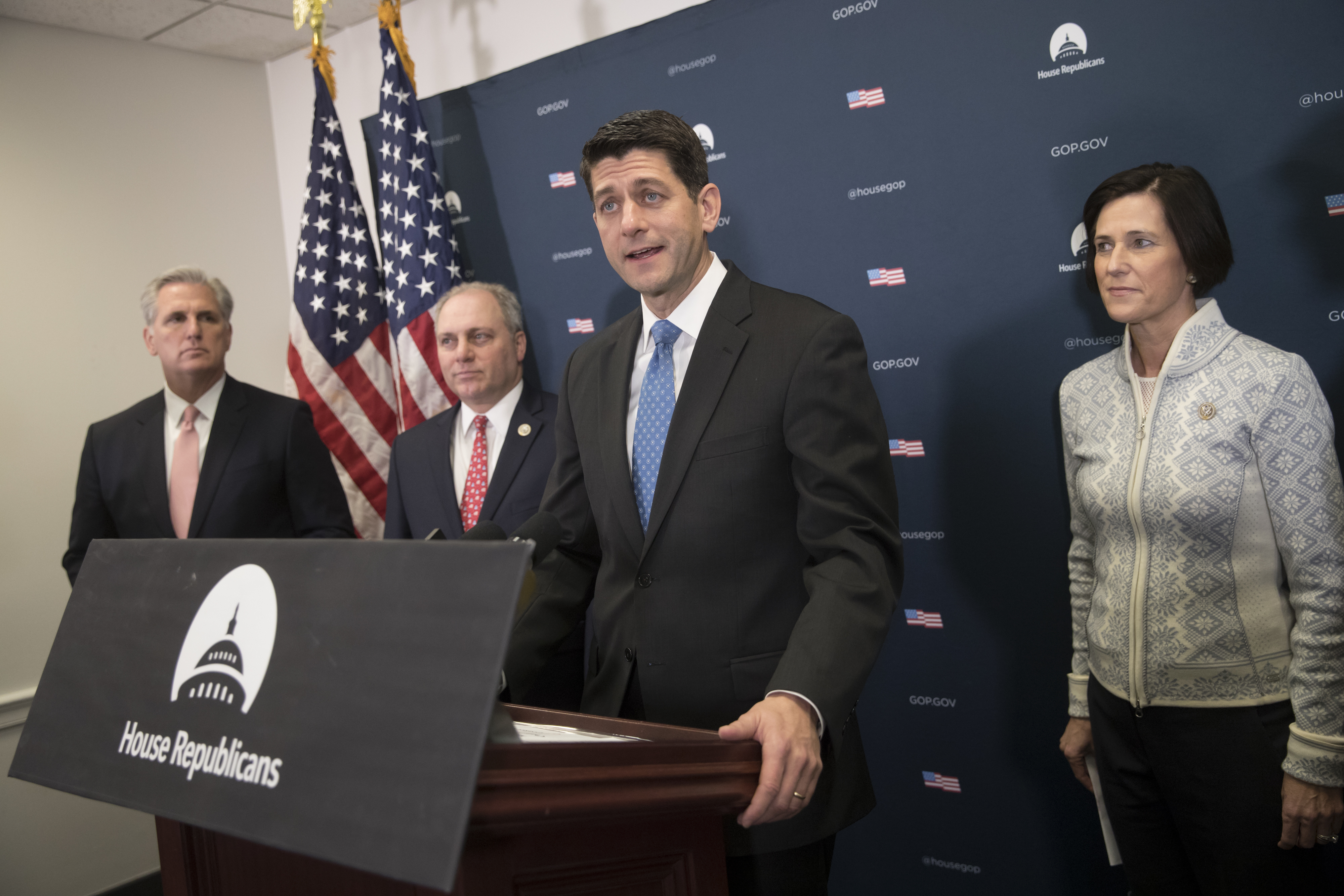 House Speaker Paul Ryan of Wis., joined by (L-R) House Majority Leader Kevin McCarthy of Calif., House Majority Whip Steve Scalise of La., and Rep. Mimi Walters, R-Calif., meets reporters on Capitol Hill in Washington on Jan. 24, 2017. (AP Photo/J. Scott Applewhite)