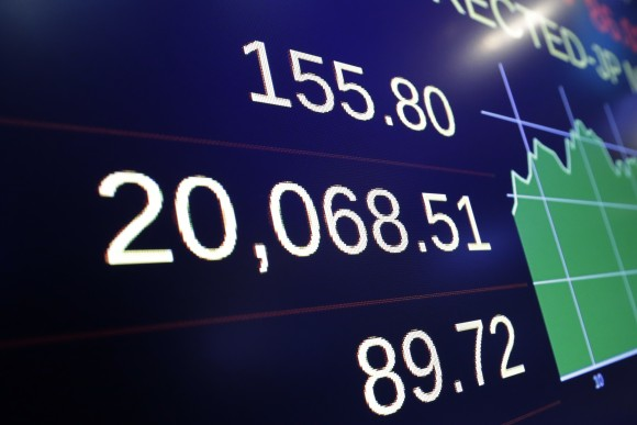 The closing number for the Dow Jones industrial average, on Jan. 25, 2017. (AP Photo/Richard Drew)