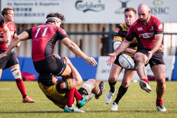 It was all action in the HKRU Premiership game between Borrelli Walsh USRC Tigers (Yellow) and Societe Generale Valley at King's Park on Saturday Jan 21, 2017. (Dan Marchant)