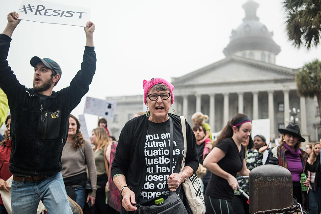 Debbie McDaniel, second from right, participates in the March In Defense of Women's Rights at the South Carolina Statehouse in Columbia, SC, on Jan. 21, 2017. (Sean Rayford/Getty Images)
