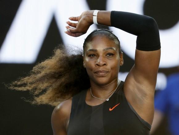 United States' Serena Williams celebrates after defeating Croatia's Mirjana Lucic-Baroni during their semifinal at the Australian Open tennis championships in Melbourne, Australia, Thursday, Jan. 26, 2017. (AP Photo/Dita Alangkara)