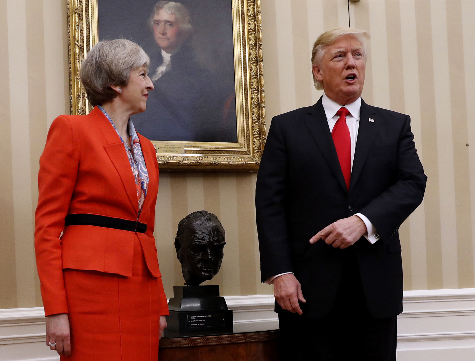 President Donald Trump meets with British Prime Minister Theresa May in the Oval Office of the White House in Washington on Jan. 27, 2017. (AP Photo/Pablo Martinez Monsivais)