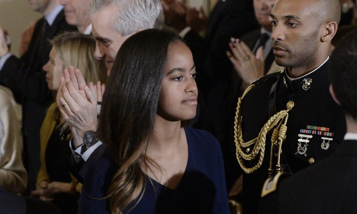 Malia Obama leaves the State Dining room of the White House in Washington, DC, on Jan. 12, 2017.  (Olivier Douliery-Pool/Getty Images)