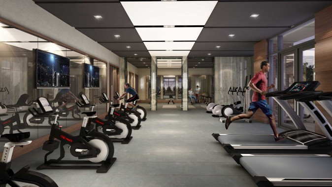 Rendering of the Valleymede Towers gym. (Courtesy Times Group)