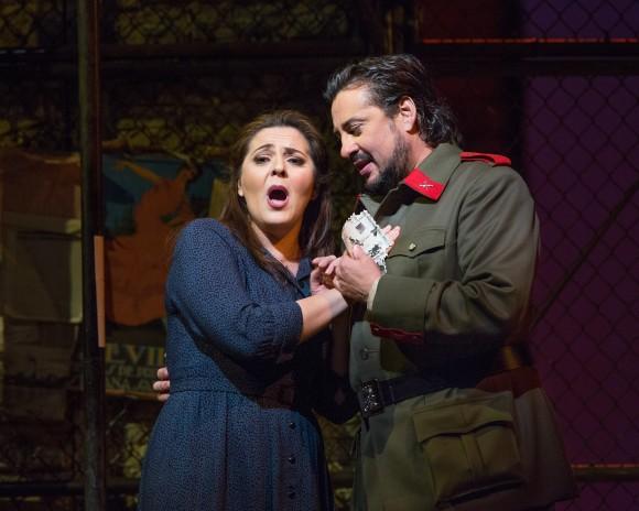 Micaëla (Maria Agresta) hopes to  marry Don José (Marcelo Álvarez) but he becomes smitten with Carmen. (Marty Sohl/Metropolitan Opera)