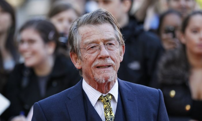 """British actor and cast member John Hurt arriving for the UK film premiere of """"Tinker Tailor Soldier Spy"""" at the BFI Southbank in London, on Sep. 13, 2011. (AP Photo/Sang Tan, File)"""