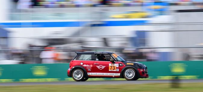 Matt Pombo and Derek Jones co-drove their #73 Mini JCW Cooper Mini to the team's first win. (Bill Kent/Epoch Times)
