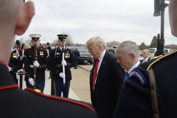 Defense Secretary Gen. James Mattis greets President Donald Trump at the Pentagon in Arlington, Virginia on Jan. 27, 2017. (Olivier Douliery-Pool/Getty Images)