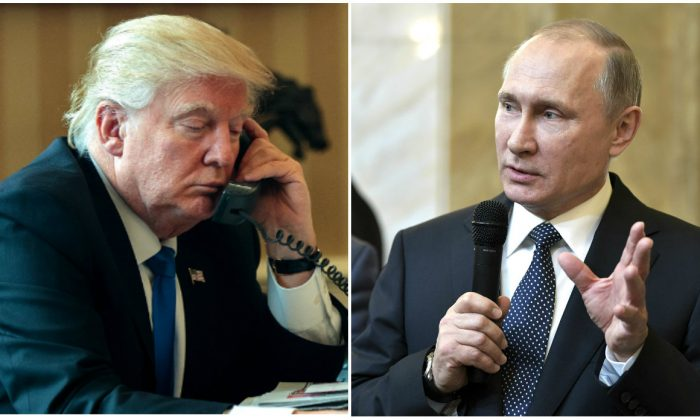 President Donald Trump and Russian President Vladimir Putin. (Drew Angerer/Getty Images; Alexei Nikolsky/Sputnik, Kremlin Pool Photo via AP, File)