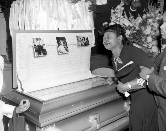 In this file photo, Mamie Till Mobley weeps at her son's funeral in Chicago, on Sept. 6, 1955. (AP Photo/Chicago Sun-Times)   /Chicago Sun-Times via AP)
