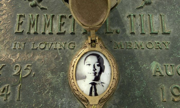 In this file photo, Emmett Till's photo is seen on his grave marker  in Alsip, Ill., on May 4, 2005. (Robert A. Davis/Chicago Sun-Times via AP)