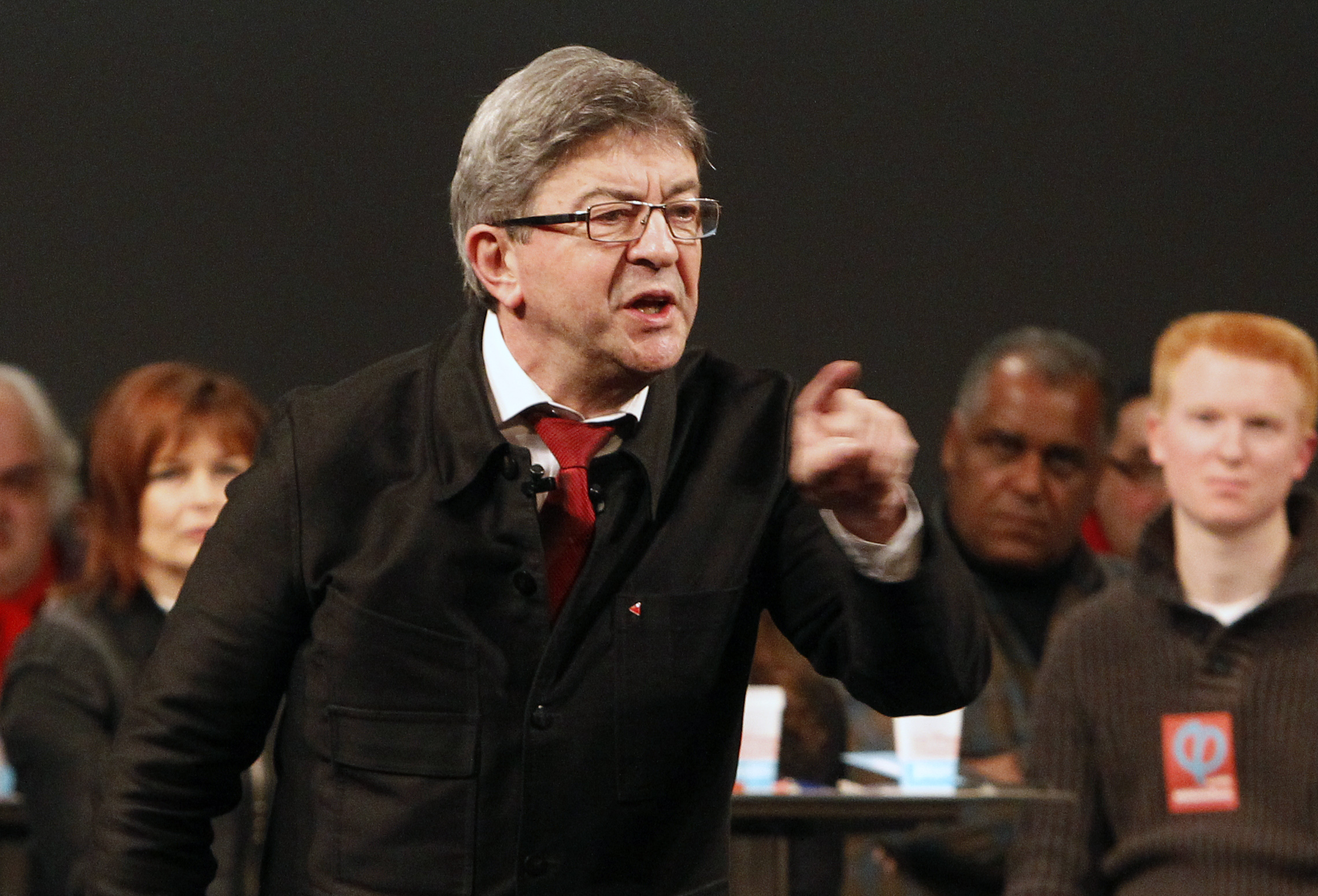 French Left party leader  and candidate for the 2017 French presidential election, Jean-Luc Melenchon  delivers a speech during a meeting in Tourcoing, northern France Jan. 8, 2017. (AP Photo/Michel Spingler)