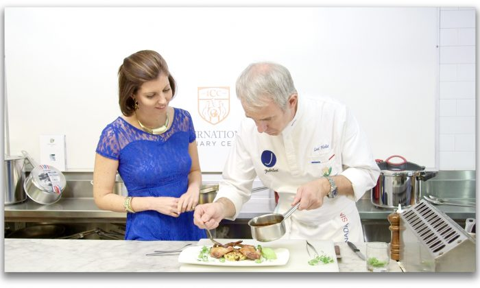 Sybille Eschapasse and chef Luc Holié at the International Culinary Center. (Melinda Martinez/Celebrity Taste Makers)