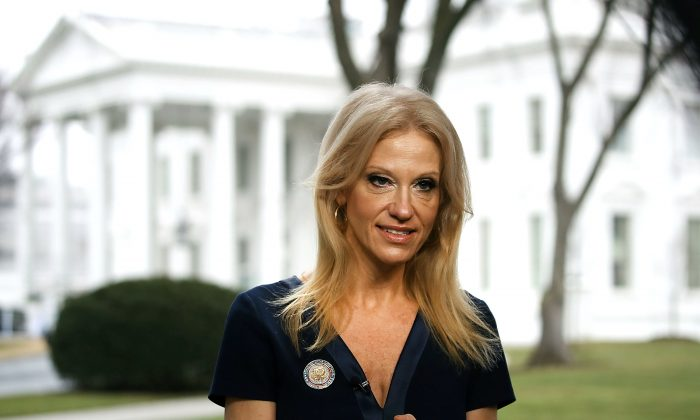 Counselor to President, Kellyanne Conway, prepares to appear on the Sunday morning show Meet The Press, from the north lawn at the White House in Washington, DC, on Jan. 22, 2017. Conway discussed President Trump's recent visit to the CIA and White House Press Secretary Sean Spicer's first statement. (Mark Wilson/Getty Images)